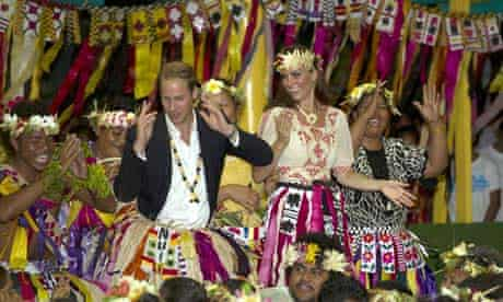 What's that smell? Will and Kate get into the groove in Tuvalu.