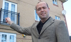 Marcus Stead outside his flat in Cardiff Bay