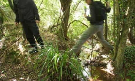 Animal activists survey badger sites in Somerset, September 2012