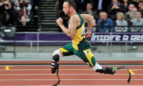 And he's off. South Africa's Oscar Pistorius competes in the Men's 200m T44 final.