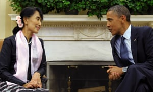President Barack Obama meets with Burmese democracy leader Aung San Suu Kyi in the Oval Office of the White House yesterday evening. Suu Kyi recieved the Congressional gold medal she was awarded while under house arrest in 2008.