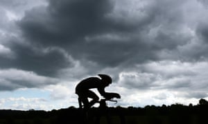 An unidentified cyclist competes during the men's elite time trial at the UCI Road World Championships Valkenburg, Netherlands.