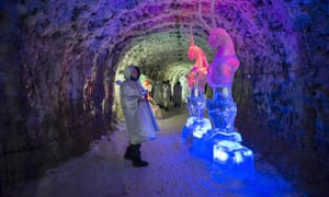 Ice figures and sculptures in the ice tunnel Permafrost Kingdom, an underground tourist attraction inspired by the extreme cold of Yakutia. The array of tunnels are 150m deep and are filled with ice sculptures and other ingenious creations, all made from permafrost.