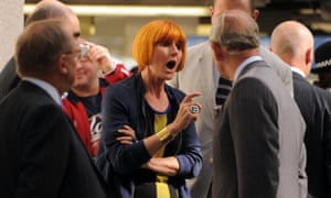 Mary Portas making her opinions known as she speaks with Prince Charles during a visit to Surrey Street market in Croydon, London.