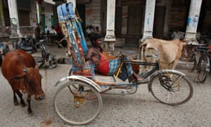 A rickshaw driver sits in front of closed shops waiting for business that doesn't appear to be coming during a nationwide strike in Allahabad, India.