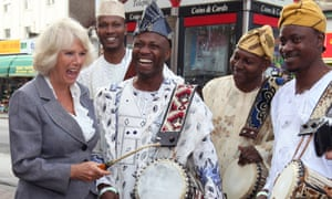And there's even more enthusiasm for the drummers. Camilla, Duchess of Cornwall chats to musician Ayan Ayandosu and African drummers the Oduwa Talking Drummers in Croydon.