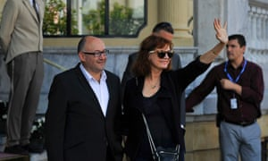 Susan Sarandon waves to fans as she arrives at her hotel ahead of the 60th San Sebastian Film Festival. The festival is the oldest and most prestigious in the Spanish speaking World and opens tomorrow with a strong focus on European and American movies.