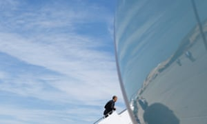 President Barack Obama boards Air Force One on his way to Florida.