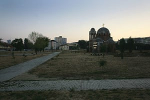 Kosovo art installation: The park where Nathan Coley's light piece has been installed