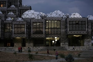 Kosovo art installation: Night falls over the National Library in Pristina
