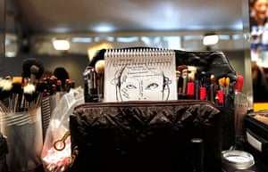 Milan Fashion Week: Makeup brushes backstage before the Just Cavalli show