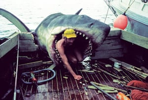 Jaws: A man crawls out of the shark's mouth