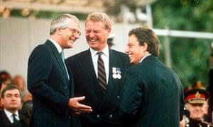 Ashdown with John Major and Tony Blair at the VE Day celebrations, 1995.