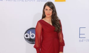 Actress Mayim Bialik arrives at the 64th annual primetime Emmy awards at Nokia Theatre in Los Angeles, California.
