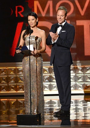 Emmy Awards: Lucy Liu and Kiefer Sutherland present an award