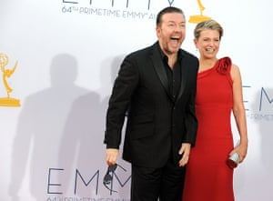 Emmy Awards: British comedian Ricky Gervais and partner Jane Fallon arrive