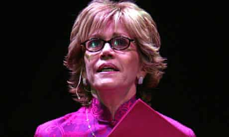 Jane Fonda reads onstage during a V-Day fundraiser in New York