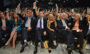 Jo Swinson, Danny Alexander, Nick Clegg, Lorely Burt, and Vince Cable vote on a policy motion.