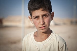 Syria Children: Maher, thirteen, is a resident of Za'atari Refugee Camp, Jordan