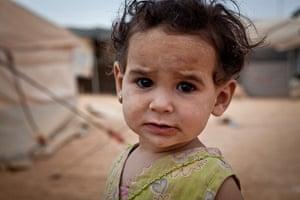 Syria Children: Manal, one, in Za'atari Refugee Camp, Jordan