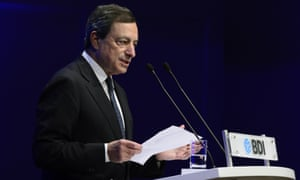 President of the European Central Bank (ECB) Mario Draghi gives a speech during the annual meeting of the BDI (Federation of German Industries) in Berlin September 25, 2012.