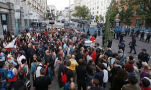Protestors gather close to Spain's Parliament ahead of a demonstration in Madrid September 25, 2012.