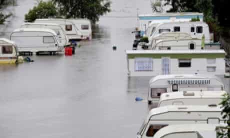 A riverside caravan park in Knaresborough following flooding from the River Nidd in the town.