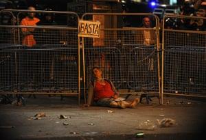 Madrid update: An injured woman lies on the street