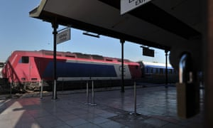 A train at the locked platform of Athens' main train station on September 26, 2012
