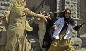 Indian police women beat female Kashmiri nursing students during their arrest at a protest against their exam results of their third year examinations which most of the students failed.