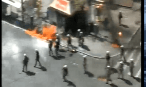 Molotov cocktail thrown at police