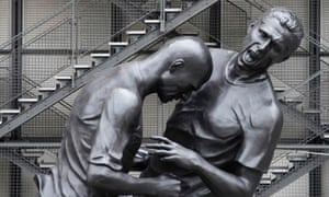 A statue depicting the famous moment the French footballer Zinedine Zidane's head-butted the Italian defender Marco Materazzi during the 2006 final of the soccer World Cup, by Algerian born artist Adel Abdessemed. It can be seen at the Pompidou Center for modern art museum in Paris.