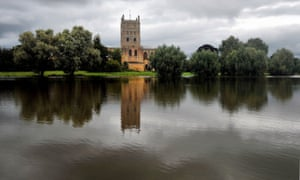 The fields surrounding Tewkesbury Abbey in Gloucestershire are again flooded following countrywide storms.