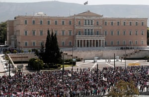 Greece protests: Protesters of the Greek Communist party affiliated unions march