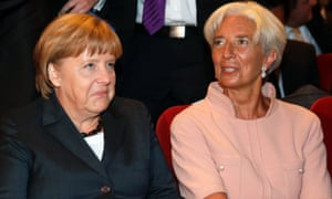 Chancellor Angela Merkel and the Director of the (IMF) Christine Lagarde attend a 70th birthday reception for German Finance Minister Wolfgang Schaeuble, in Berlin