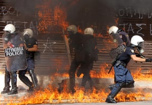 Greece protests update: Riot police find themselves engulfed in flames during violent clashes
