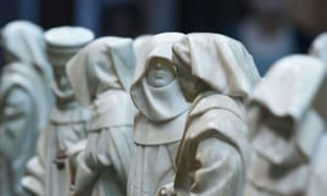 """37 alabaster statues depicting mourners are displayed as part of the exhibition """"Lamentations for a Dead Prince - The Pleurants from the Tomb of Duke John the Fearless in Dijon"""" at the Bode Museum in Berlin. The small statues, made by court sculptor Juan de la Huerta between 1443 and 1456."""