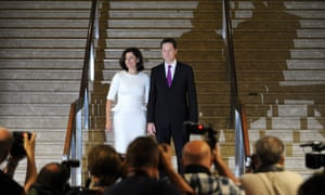 Nick Clegg  arrives with his wife Miriam for his keynote speech.