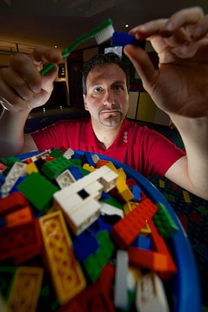 Legoland gallery: Model Maker Giorgio Pastero cleans individual lego blocks