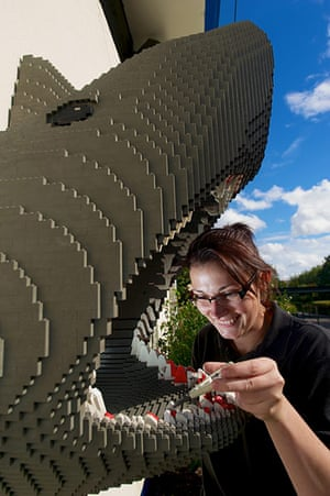 Legoland gallery: Kat James repairing the dentures of a Lego shark