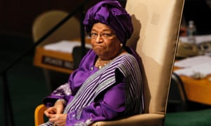 President of the Republic of Liberia Ellen Johnson-Sirleaf sits after her address to world leaders at the United Nations General Assembly.