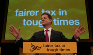Nick Clegg delivers his speech.