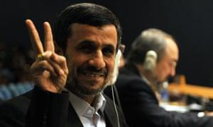 Enjoying the United Nations General Assembly Mahmoud Ahmadinejad, President of of Iran.