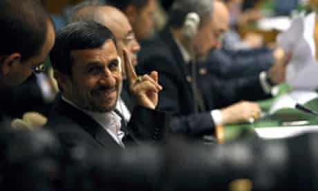 Iran president Mahmoud Ahmadinejad sits with his delegation before addressing the UN General Assembly in New York.