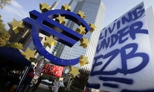 A placard is seen in a protest camp outside the European Central Bank in Frankfurt