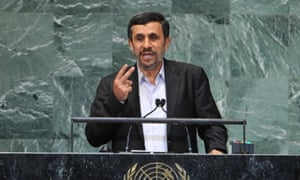 Mahmoud Ahmadinejad, president Iran, addresses the 67th session of the United Nations general assembly in New York.