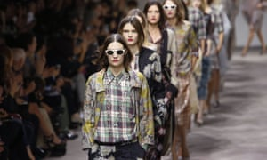 Models present creations by Dries Van Noten during the Spring/Summer 2013 fashion show in Paris.