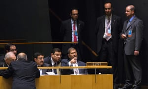 Egyptian president Mohamed Morsi sits with his delegation before addressing the 67th United Nations general assembly.