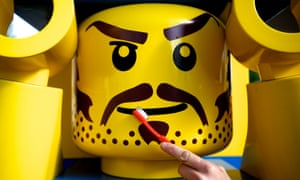 A model gets cleaned with a toothbrush at Legoland, Windsor, during the resort's annual two day clean up. Legoland closes down for two days to clean up after the summer holidays.