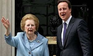 David Cameron and Margaret Thatcher outside of 10 Downing Street